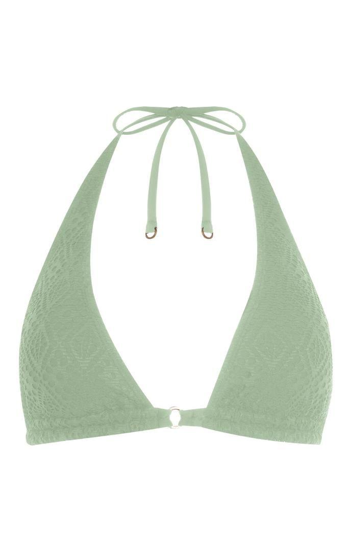 Top de bikini Primark triangular verde claro