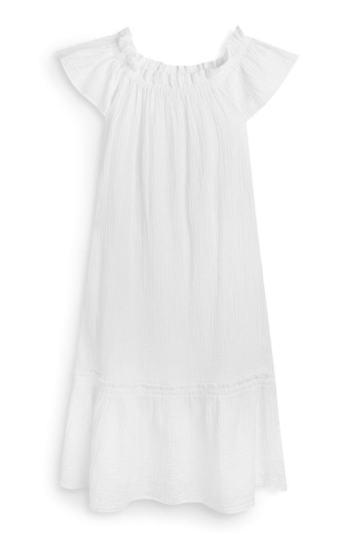 Vestido Primark blanco de tejido doble con escote barco