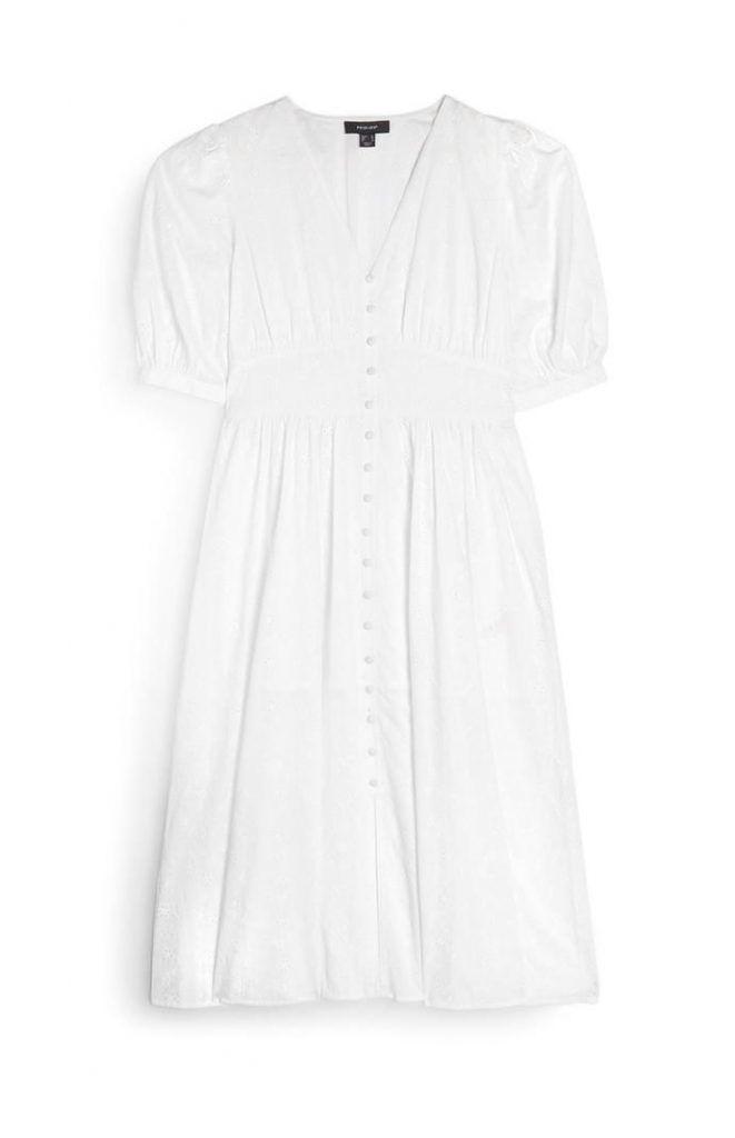 Vestido Primark blanco midi estilo vintage con botones