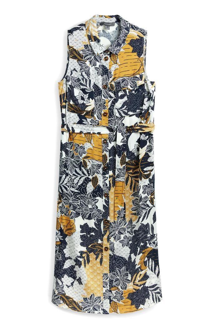 Vestido Primark camisero midi estampado sin mangas