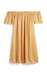 Vestido corto a rayas amarillas con escote barco