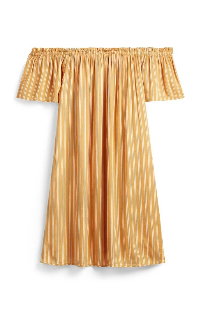 Vestido Primark corto a rayas amarillas con escote barco