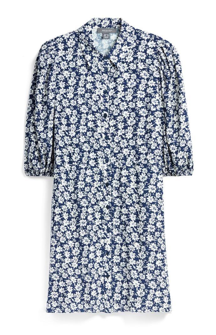 Vestido Primark corto camisero con estampado floral en azul