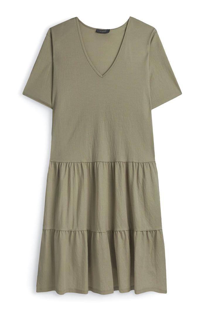 Vestido Primark de punto a capas con cuello de pico color caqui