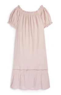 Vestido de tejido doble con escote barco rosa palo