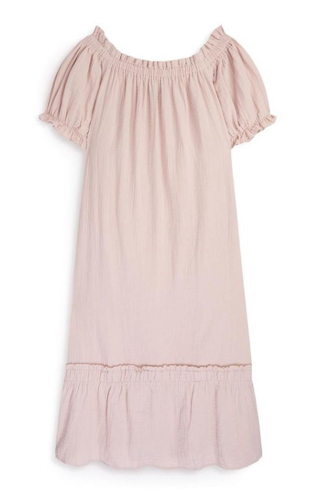 Vestido Primark de tejido doble con escote barco rosa palo