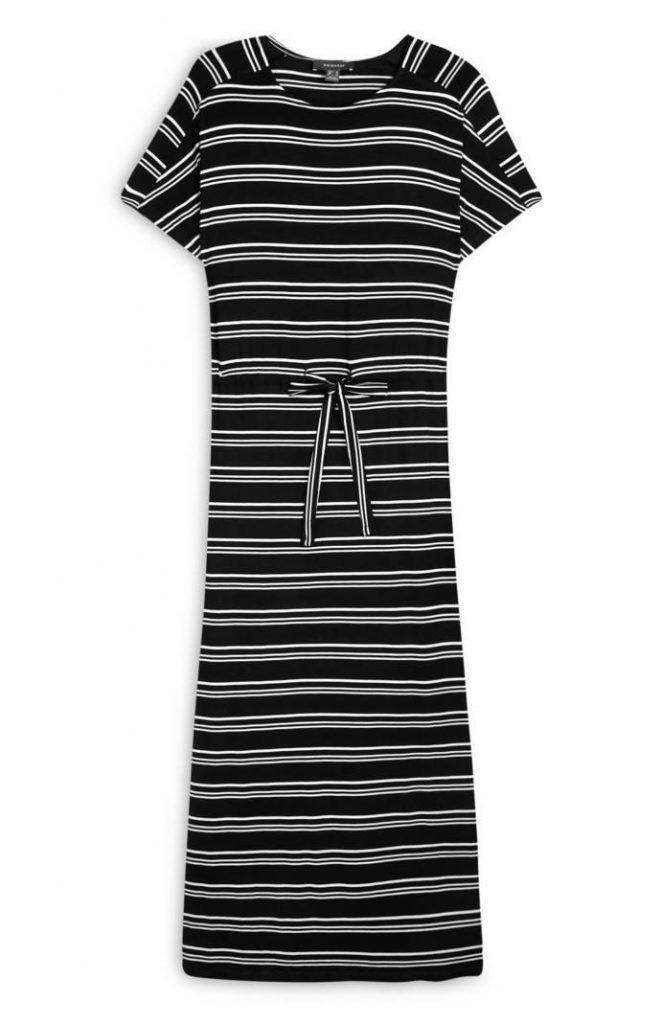 Vestido Primark largo de punto con rayas horizontales en blanco y negro