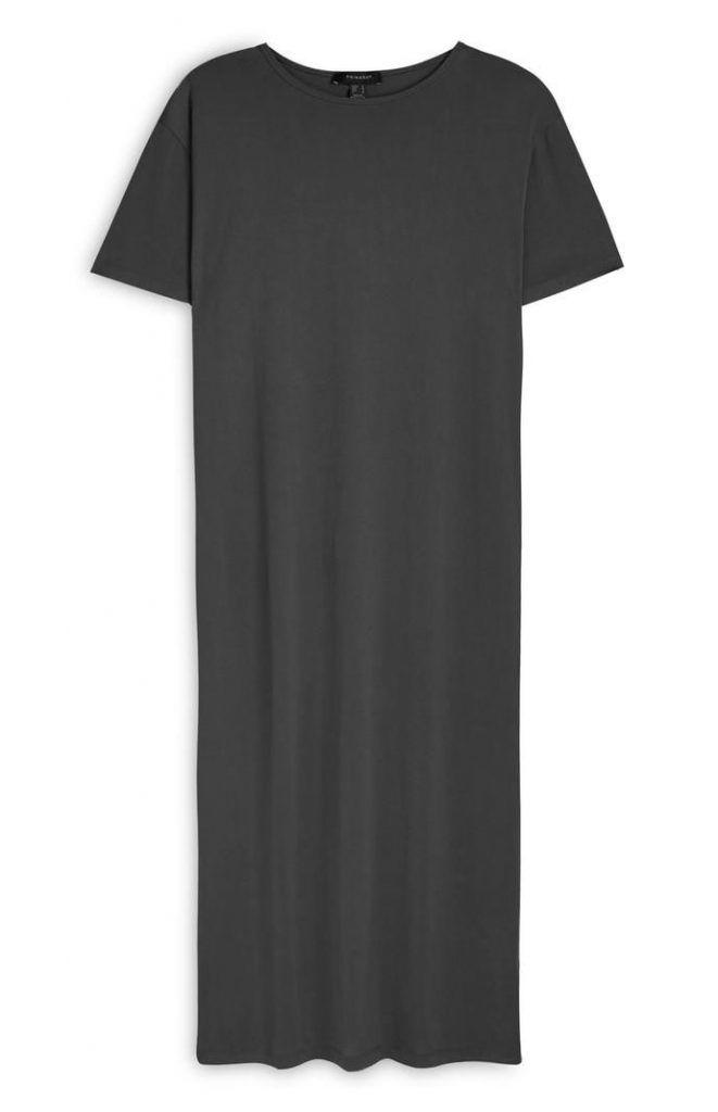 Vestido Primark largo estilo camiseta de punto gris marengo