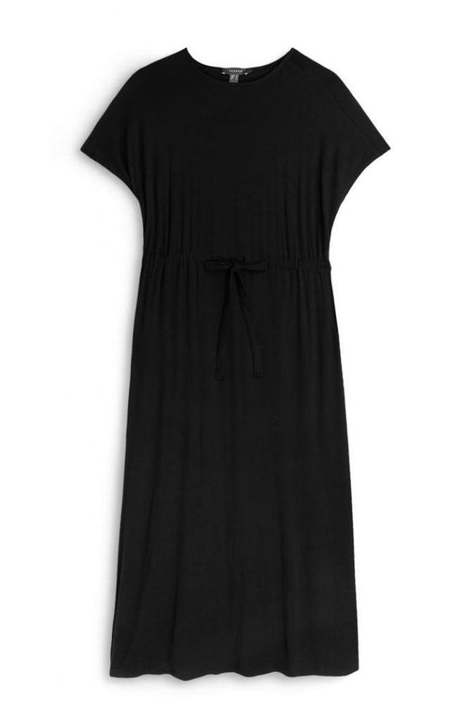 Vestido Primark negro de punto con cordón de ajuste en la cintura