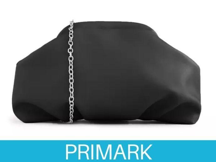 Bolso de mano negro suave con asa de cadena en primark