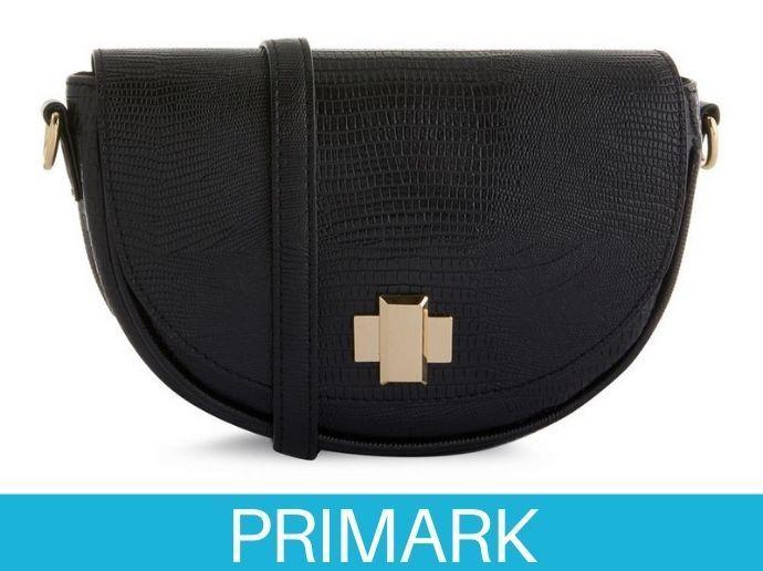 Bolso de media luna negro con correa Primark