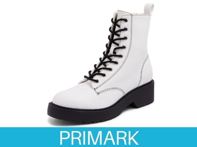 Botines blancos con cordones en contraste y suela gruesa Primark
