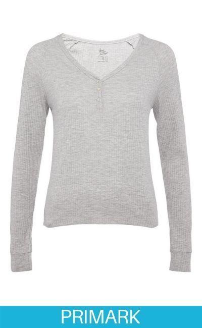 Camiseta de manga larga gris claro en Primark