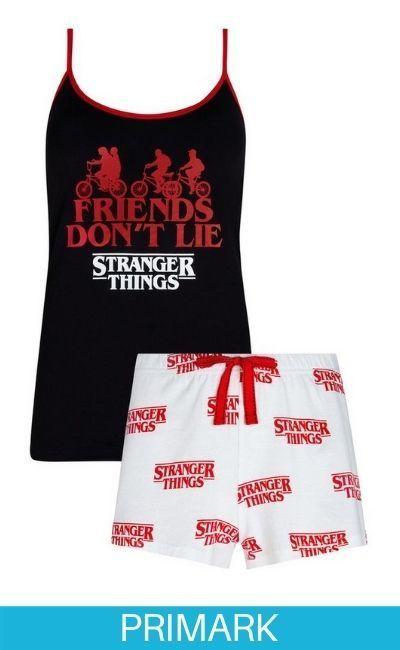 Conjunto de camiseta de pijama negra y pantalón corto blanco de Stranger Things en primark