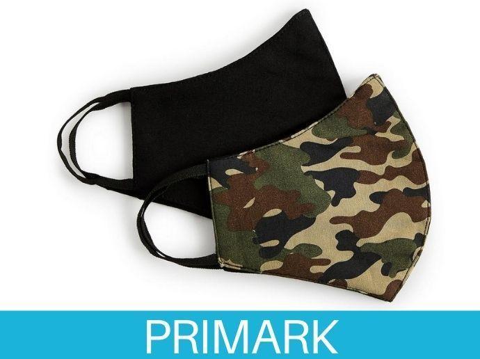 Pack de 2 mascarillas de camuflaje y negro liso en Primark