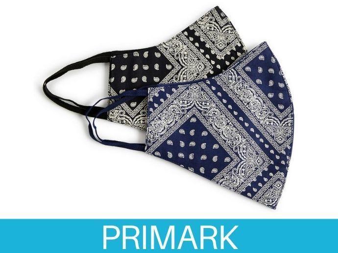 Pack de 2 mascarillas con estampado de bandana en Primark