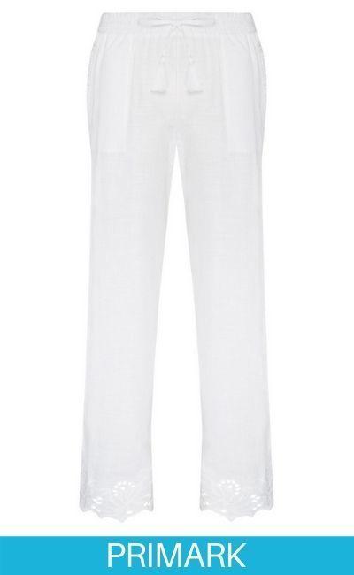 Pantalón blanco con bordado Schiffley en Primark