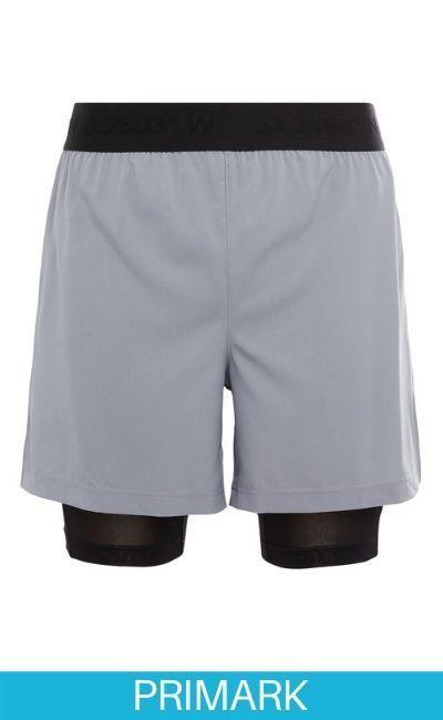 Pantalones cortos para correr grises y negros 2 en 1 en Primark