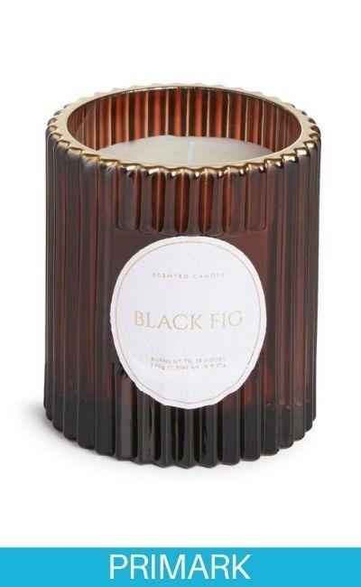 Vela votiva en vaso de vidrio acanalado «Black Fig» en Primark