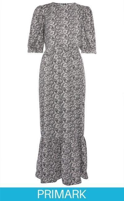 Vestido midi gris con mangas abullonadas de algodón hilado