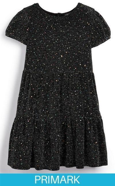 Vestido negro a capas brillante para niña pequeña en primark
