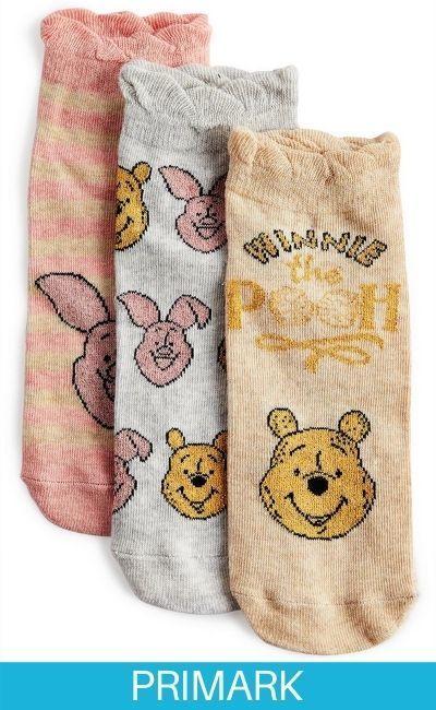 Pack de 3 pares de calcetines de color rosa, gris y marrón claro de Winnie the Pooh Primark