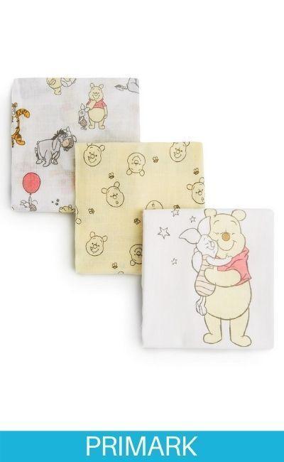 Pack de 3 muselinas de Winnie The Pooh en amarillo y blanco primark