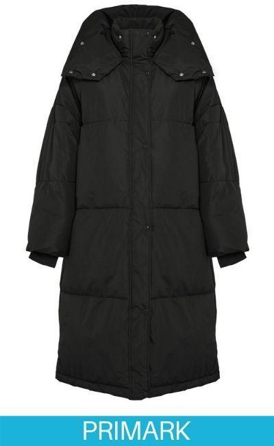 Abrigo largo acolchado negro Primark