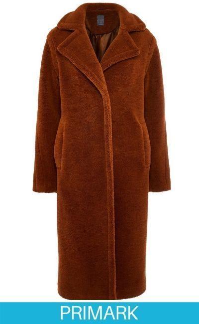 Abrigo largo marrón de borrego sintético Primark