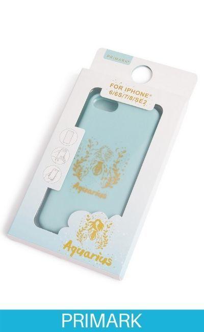"""Carcasa para el móvil de color menta con estampado """"Aquarius"""" Primark"""