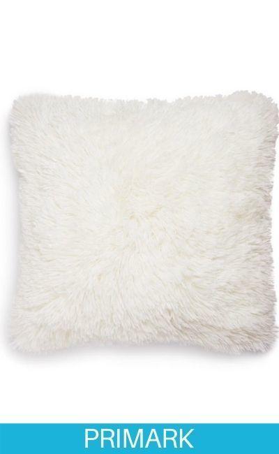 Cojín cuadrado tipo pompón blanco Primark