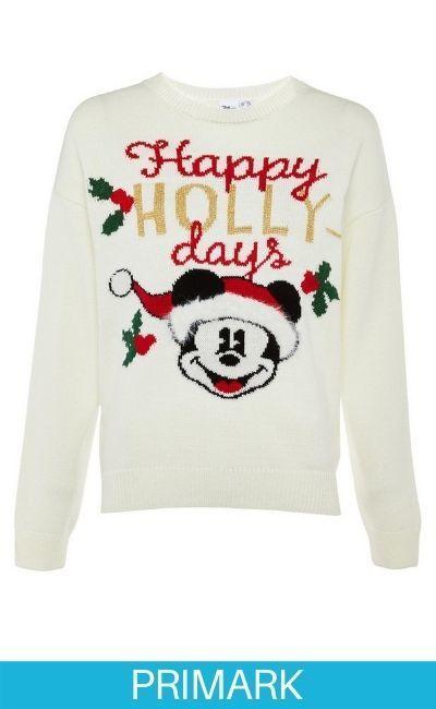 """Jersey de punto de color crema con mensaje """"Happy Hollydays"""" de Mickey Mouse Primark"""