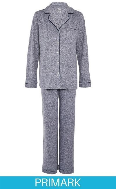 Pijama supersuave de color azul marino con botones Primark