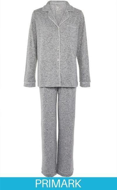 COMPARTIR  Pijama supersuave de color gris con botones Primark