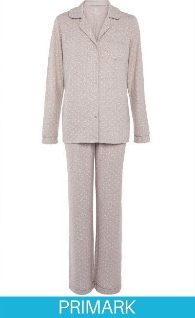 Pijama color visón de tejido supersuave con botones Primark