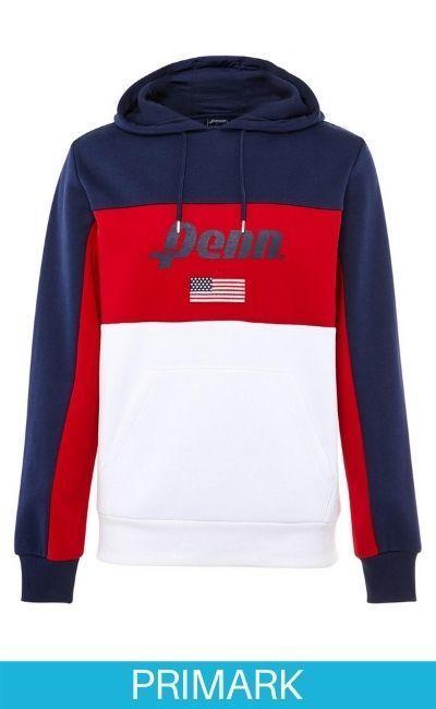 Sudadera deportiva con capucha en rojo, blanco y azul marino de la colección Penn Primark